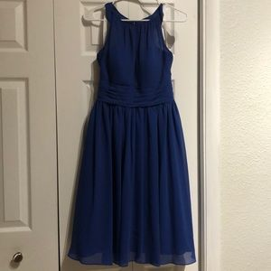 Royal Blue Azazie Knee Length Dress with Pockets